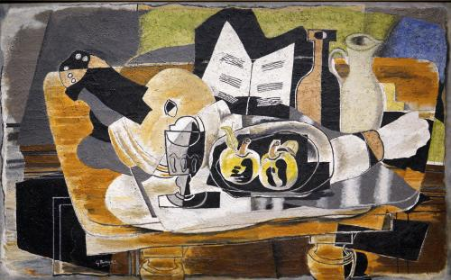 Braque, Georges, French, 1882 - 1963Still Life: The Table 1928 oil on canvas overall: 81.3 x 130.8 cm (32 x 51 1/2 in.) framed: 116.8 x 167 x 12 cm (46 x 65 3/4 x 4 3/4 in.) Chester Dale Collection 1963.10.92
