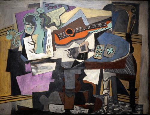 Picasso, Pablo, Spanish, 1881 - 1973Still Life 1918 oil on canvas overall: 97.2 x 130.2 cm (38 1/4 x 51 1/4 in.) framed: 134 x 167 x 8.2 cm (52 3/4 x 65 3/4 x 3 1/4 in.) Chester Dale Collection 1963.10.195