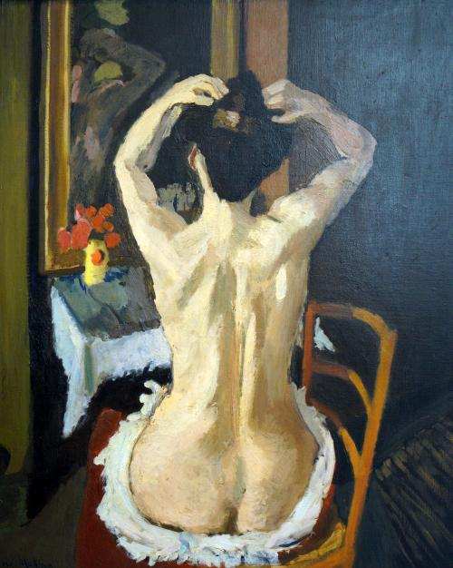 Matisse, Henri, French, 1869 - 1954La coiffure 1901 oil on canvas overall: 95.2 x 80.1 cm (37 1/2 x 31 9/16 in.) framed: 114.3 x 96.8 x 6.3 cm (45 x 38 1/8 x 2 1/2 in.)gross weight: 12.247 kg (27 lb.) Chester Dale Collection 1963.10.165