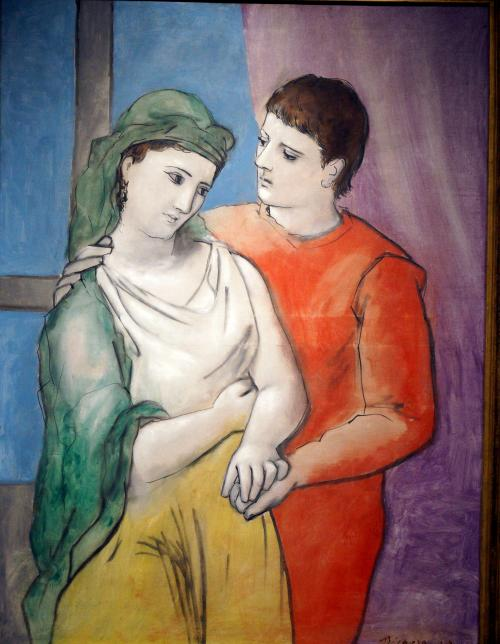 Picasso, Pablo, Spanish, 1881 - 1973The Lovers 1923 oil on linen overall: 130.2 x 97.2 cm (51 1/4 x 38 1/4 in.) framed: 161.9 x 128.3 cm (63 3/4 x 50 1/2 in.) Chester Dale Collection 1963.10.192