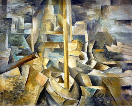 Braque, GeorgesFrench, 1882 - 1963Harbor1909oil on canvasoverall: 40.6 x 48.2 cm (16 x 19 in.)framed: 54.9 x 63.2 x 4.4 cm (21 5/8 x 24 7/8 x 1 3/4 in.)Gift of Victoria Nebeker Coberly in memory of her son, John W. Mudd1992.3.1