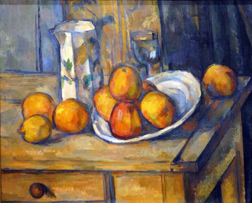 Cézanne, Paul, French, 1839 - 1906Still Life with Milk Jug and Fruit c. 1900 oil on canvas overall: 45.8 x 54.9 cm (18 1/16 x 21 5/8 in.) framed: 71.1 x 80 x 8.2 cm (28 x 31 1/2 x 3 1/4 in.) Gift of the W. Averell Harriman Foundation in memory of Marie N. Harriman 1972.9.5