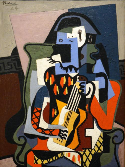 Picasso, Pablo, Spanish, 1881 - 1973Harlequin Musician 1924 oil on canvas overall: 130 x 97.2 cm (51 3/16 x 38 1/4 in.) framed: 150.8 x 117.8 x 5.7 cm (59 3/8 x 46 3/8 x 2 1/4 in.) Given in loving memory of her husband, Taft Schreiber, by Rita Schreiber 1989.31.2